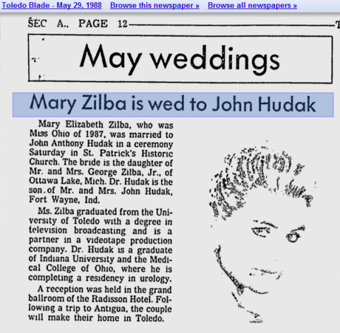 RHOV Mary Zilbas Toledo Blade marriage announcement to First Husband