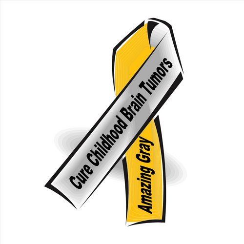 Amazing Gray Cure Childhood Brain Tumors Ribbon