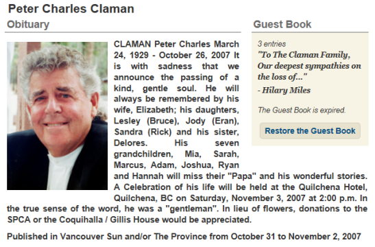 RHOV Jodys Father Peter Charles Claman 2007 Obituary Vancouver Sun